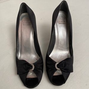 Stuart Weitzman black peep toe satin stiletto 9M